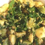 Potato Curry with Kale, Green Pepper and Tahini