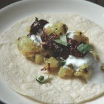 Potato Curry Tacos with Mole Chutney