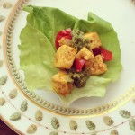 Lettuce Wraps with Curried Tofu and Coconut Basil Chutney