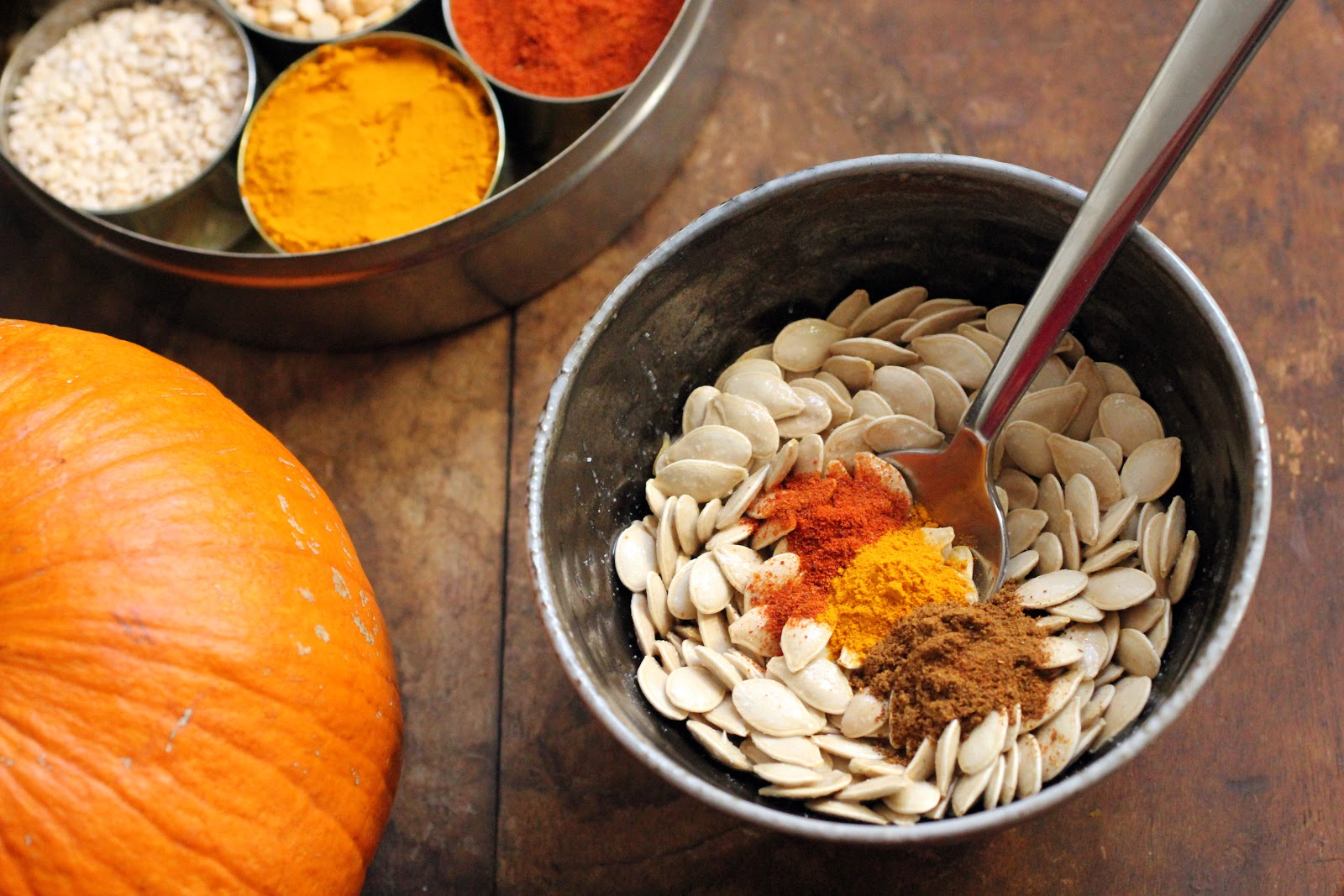 Masala roasted pumpkin seeds using my Great Aunt's garam masala recipe