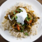 Curried Green Lentils w/ Mushrooms & Red Bell Pepper