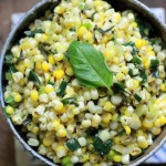 Stir-Fried Corn w/ Basil & Leeks