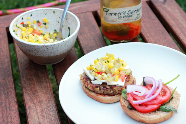 Rajma Burger and Corn Relish