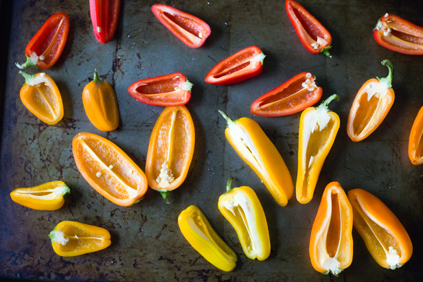 sliced mini sweet peppers