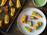 Paneer Stuffed Mini Peppers with Green Pea Chutney