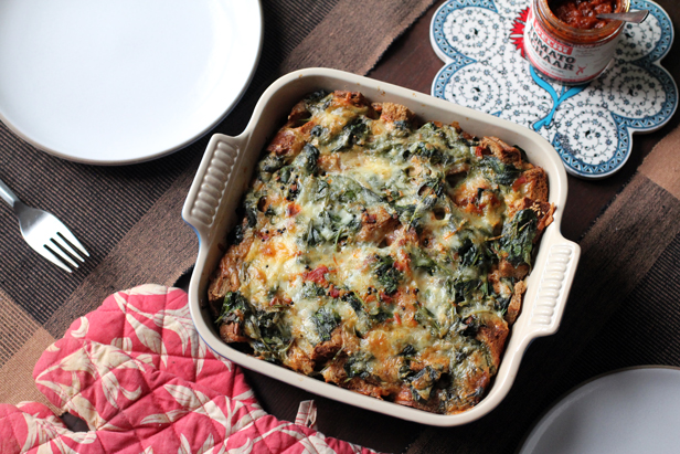 Indian-Spiced Vegetable and Cheddar Strata