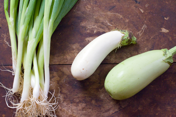 Scallions and eggplants