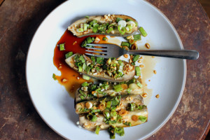 Steamed Eggplant with Garlic and Chilies