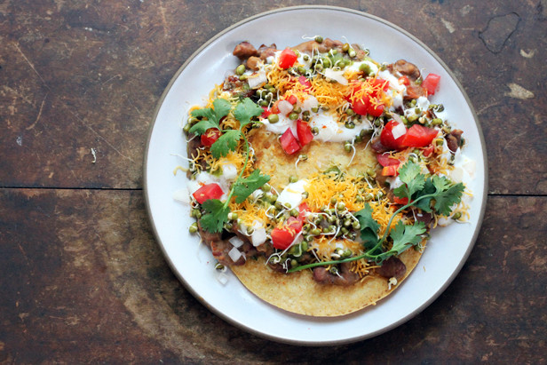 chaat tostada from Seven Spoons cookbook