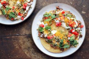 chaat tostadas from seven spoons cookbook