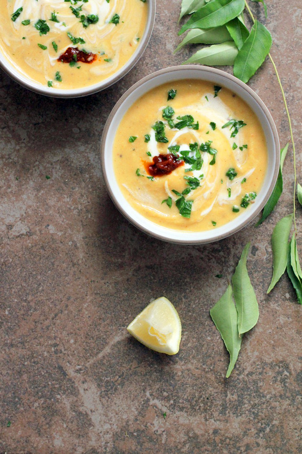 roasted acorn squash and coconut milk soup