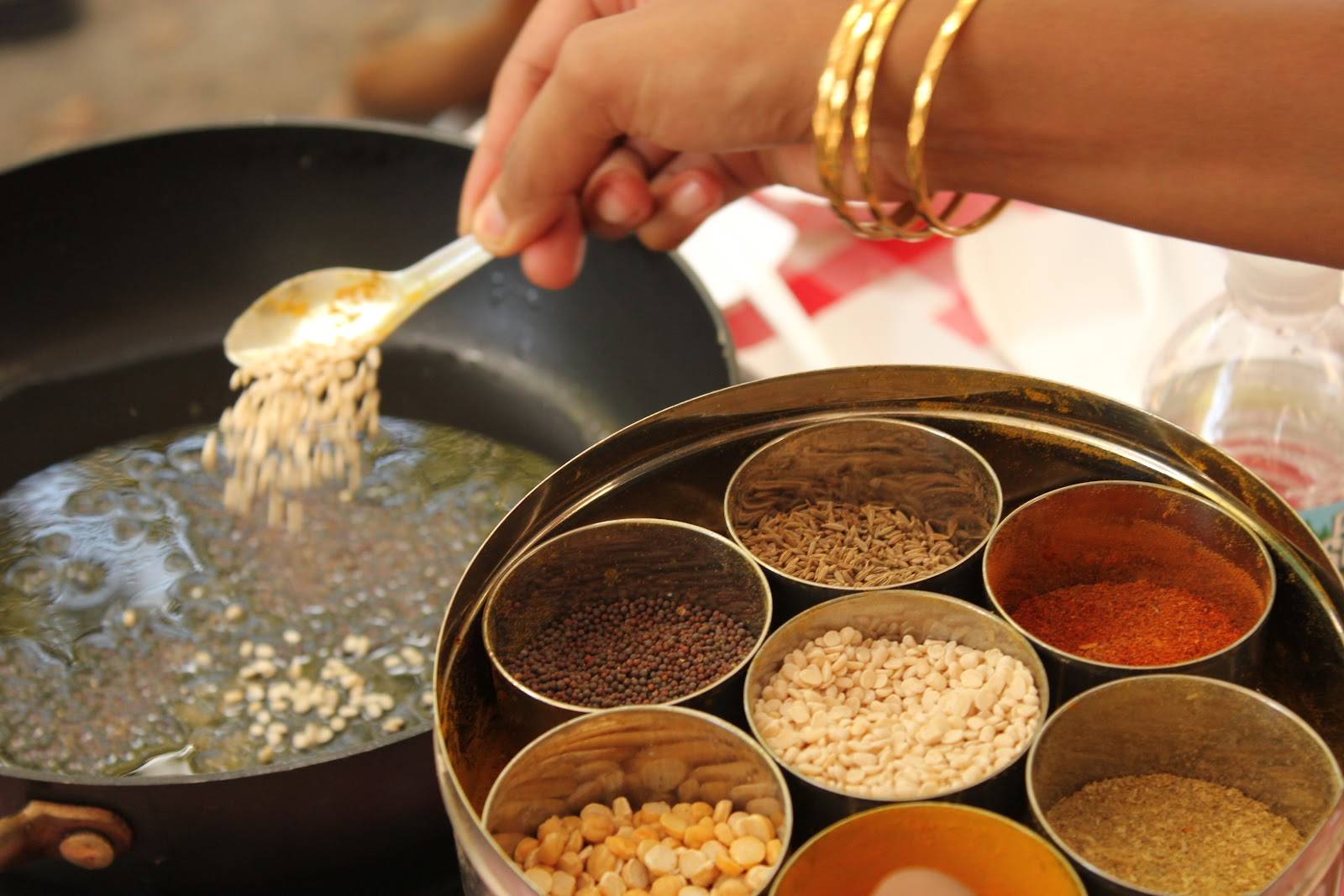 urad dal and Indian spice box (dhaba)